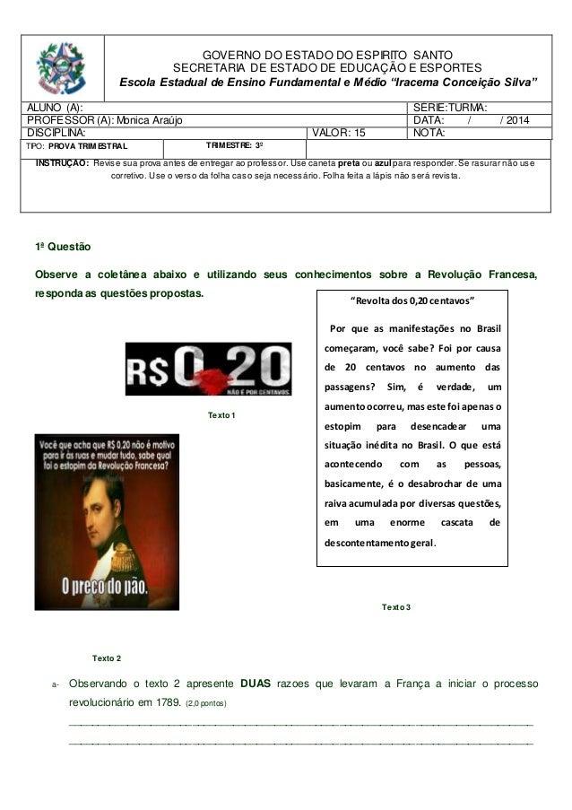 GOVERNO DO ESTADO DO ESPIRITO SANTO  SECRETARIA DE ESTADO DE EDUCAÇÃO E ESPORTES  Escola Estadual de Ensino Fundamental e ...