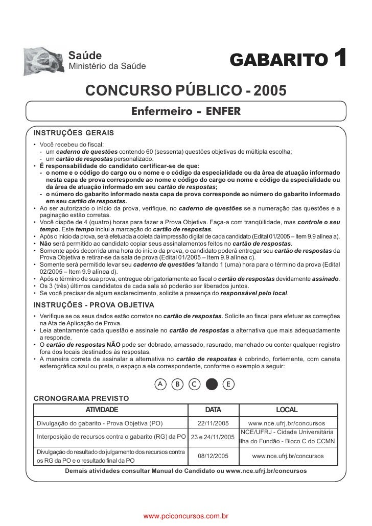 Saúde              Ministério da Saúde                                                GABARITO 1                     CONCU...