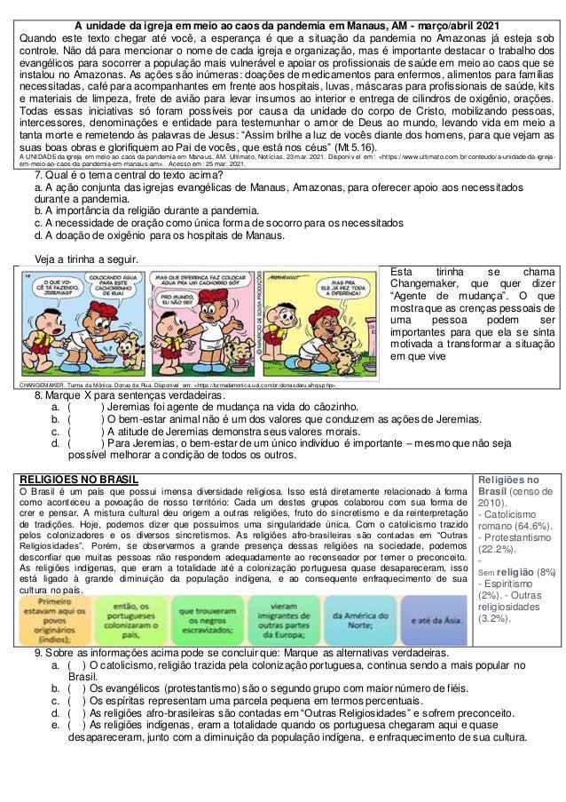 Prova 8ano ensino religioso 2b pet 2 Slide 3
