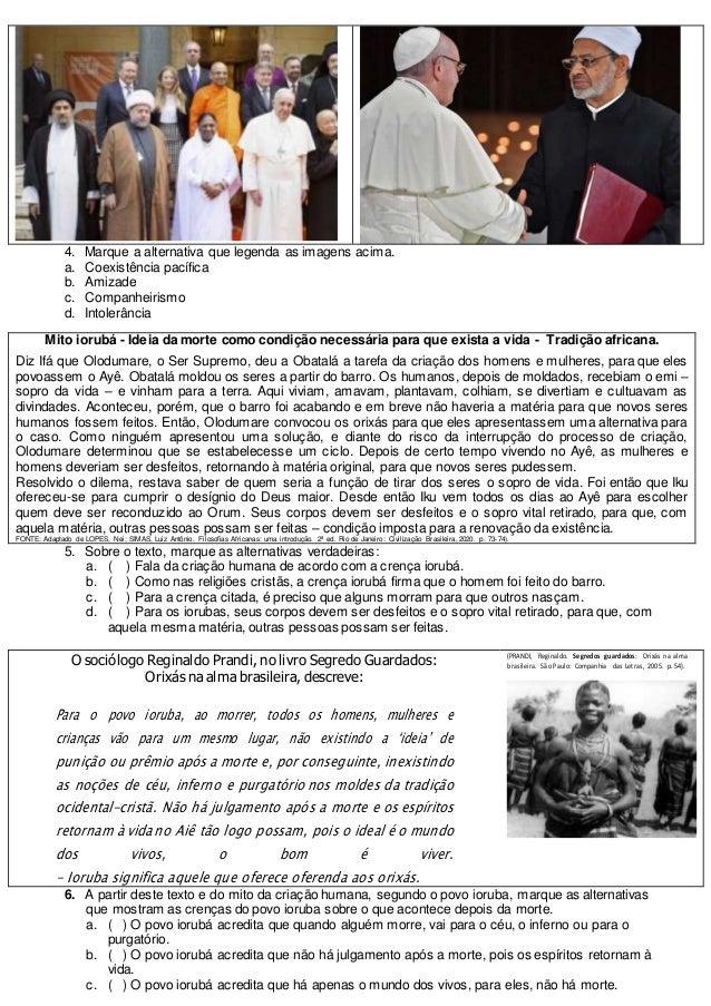 Prova 9ano ensino religioso 2b pet 2 Slide 2