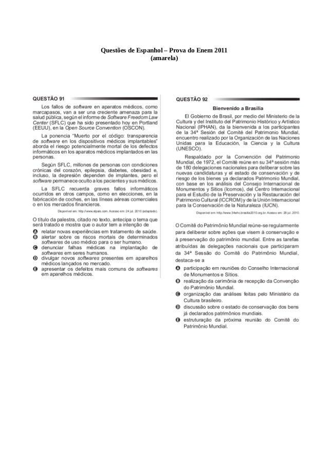 Questões de Espanhol – Prova do Enem 2011 (amarela)