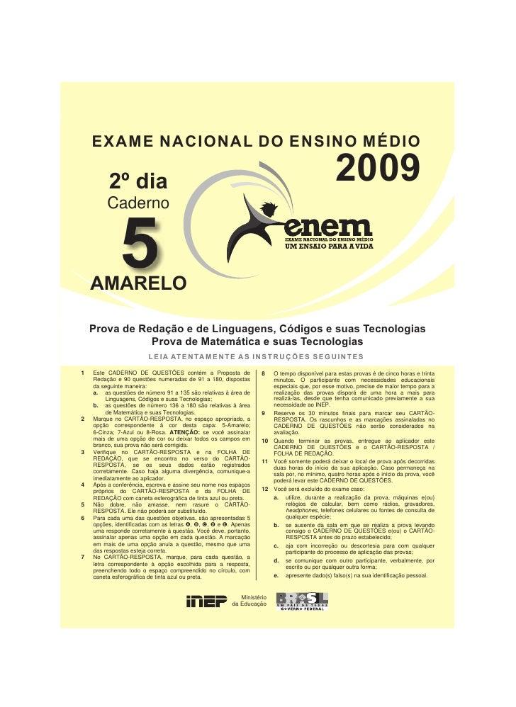 EXAME NACIONAL DO ENSINO MÉDIO         2º dia                                                                             ...