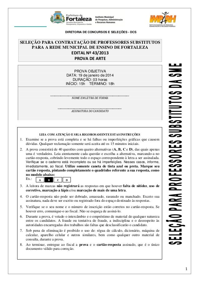 DIRETORIA DE CONCURSOS E SELEÇÕES - DCS  SELEÇÃO PARA CONTRATAÇÃO DE PROFESSORES SUBSTITUTOS PARA A REDE MUNICIPAL DE ENSI...