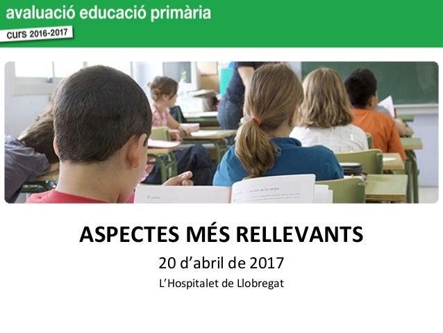 ASPECTES MÉS RELLEVANTS 20 d'abril de 2017 L'Hospitalet de Llobregat