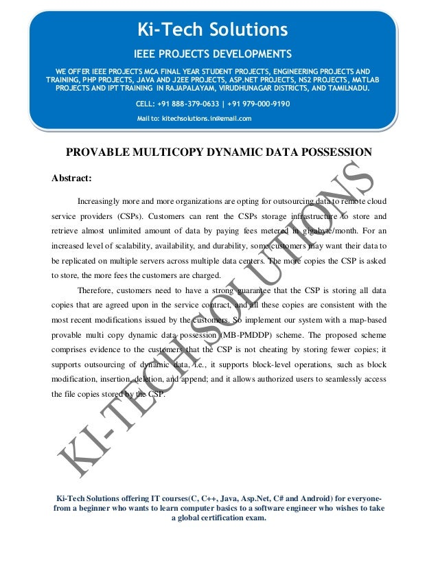 Provable Multicopy Dynamic Data Possession In Cloud Computing Systems