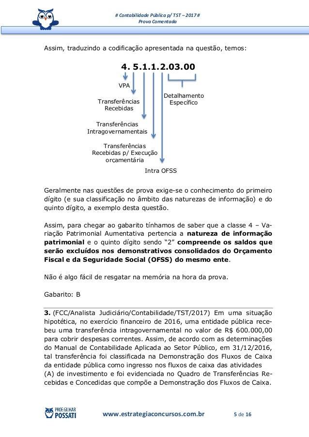 # Contabilidade Pública p/ TST – 2017 # Prova Comentada www.estrategiaconcursos.com.br 5 de 16 Assim, traduzindo a codific...