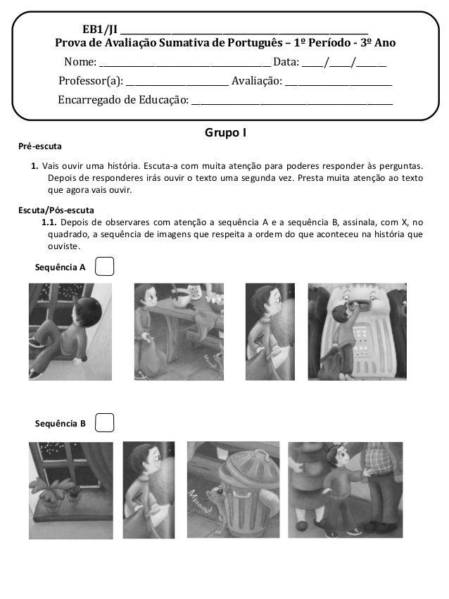 EB1/JI __________________________________________________________Prova de Avaliação Sumativa de Português – 1º Período - 3...