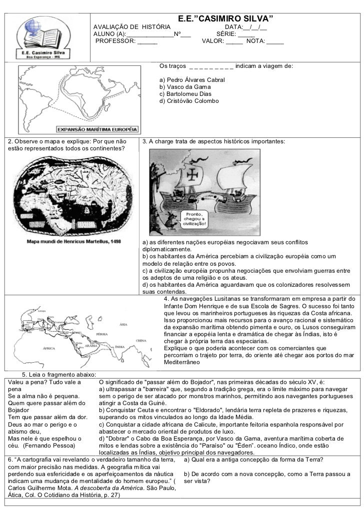 """E.E.""""CASIMIRO SILVA""""                               AVALIAÇÃO DE HISTÓRIA                          DATA:__/__/__           ..."""