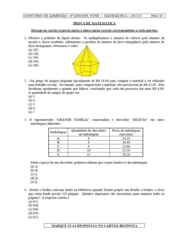 Prova de matemática Colégio Militar 2012   6ºano