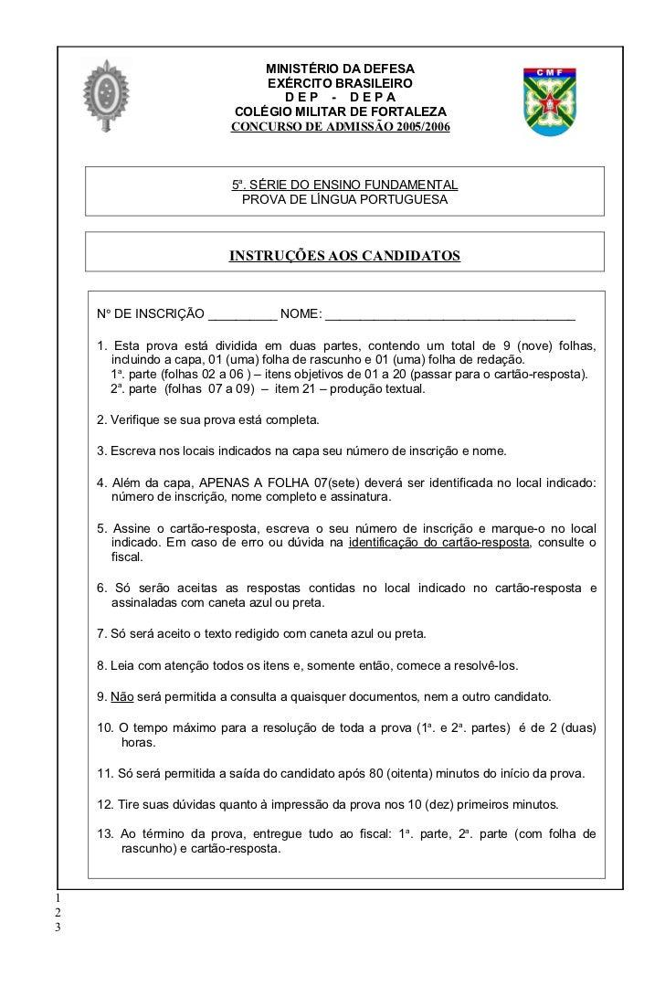 Populares Prova de português cmf 6 ano PG89