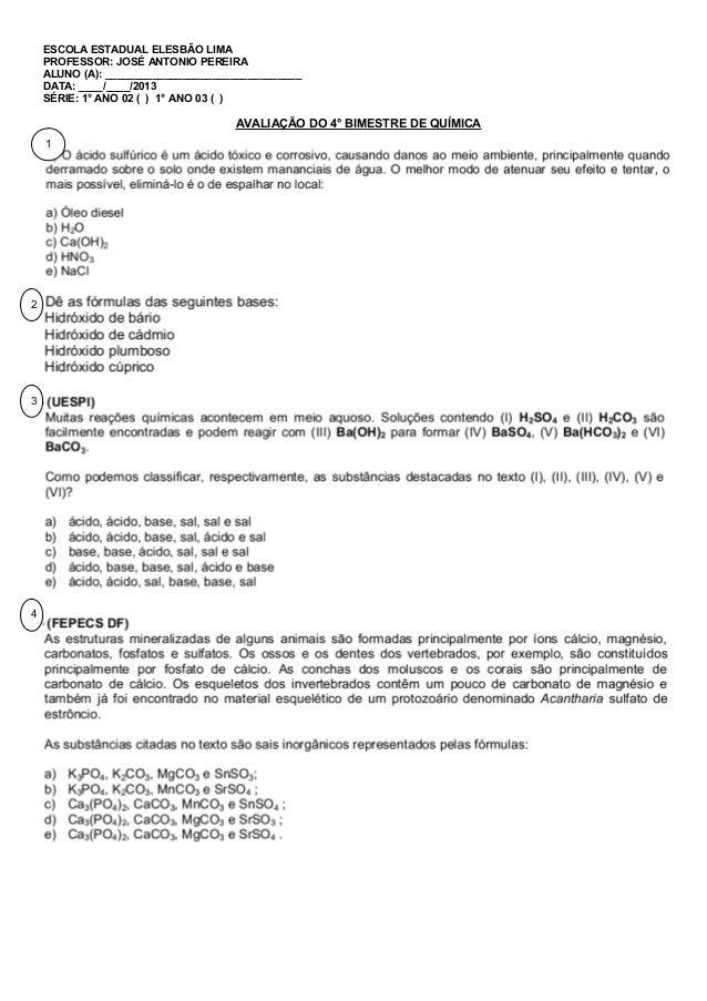 ESCOLA ESTADUAL ELESBÃO LIMA PROFESSOR: JOSÉ ANTONIO PEREIRA ALUNO (A): _________________________________ DATA: ____/____/...