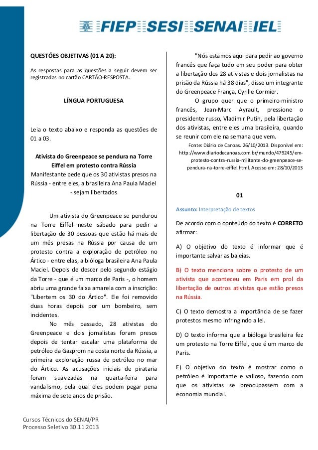 QUESTÕES OBJETIVAS (01 A 20):  As respostas para as questões a seguir devem ser  registradas no cartão CARTÃO-RESPOSTA.  L...