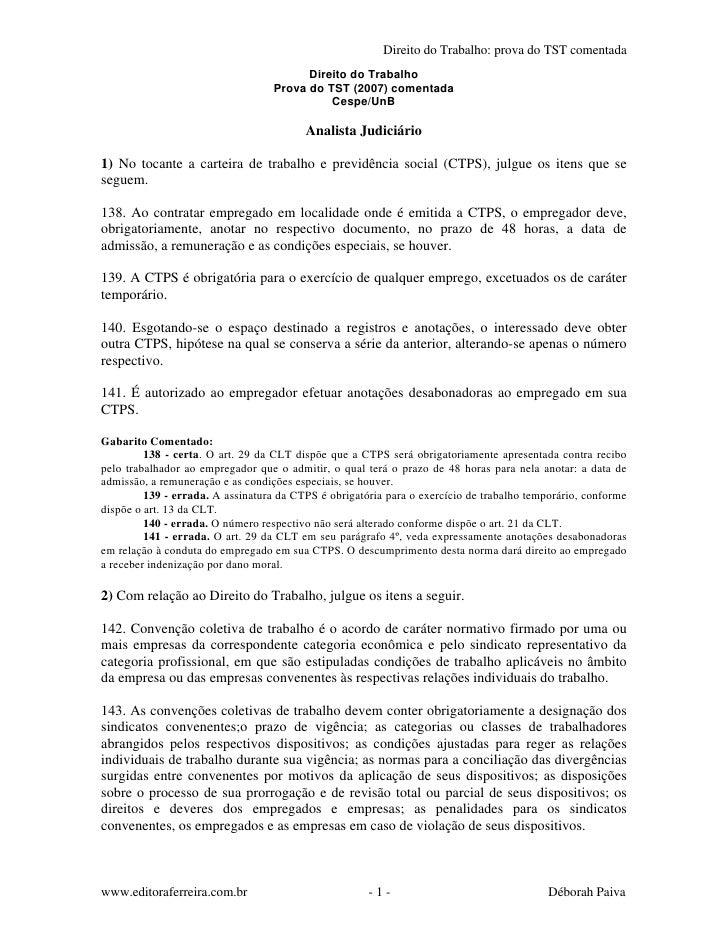 Direito do Trabalho: prova do TST comentada                                         Direito do Trabalho                   ...