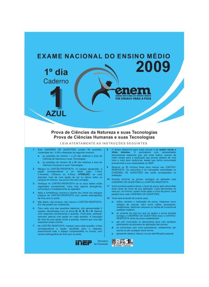 CADERNO DE PROVA ENEM 2009 DO BAIXAR