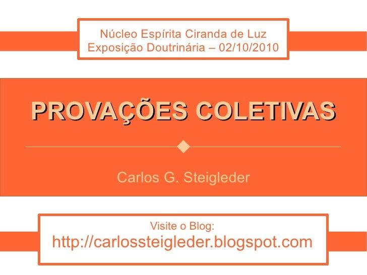 Núcleo Espírita Ciranda de Luz      Exposição Doutrinária – 02/10/2010     PROVAÇÕES COLETIVAS            Carlos G. Steigl...
