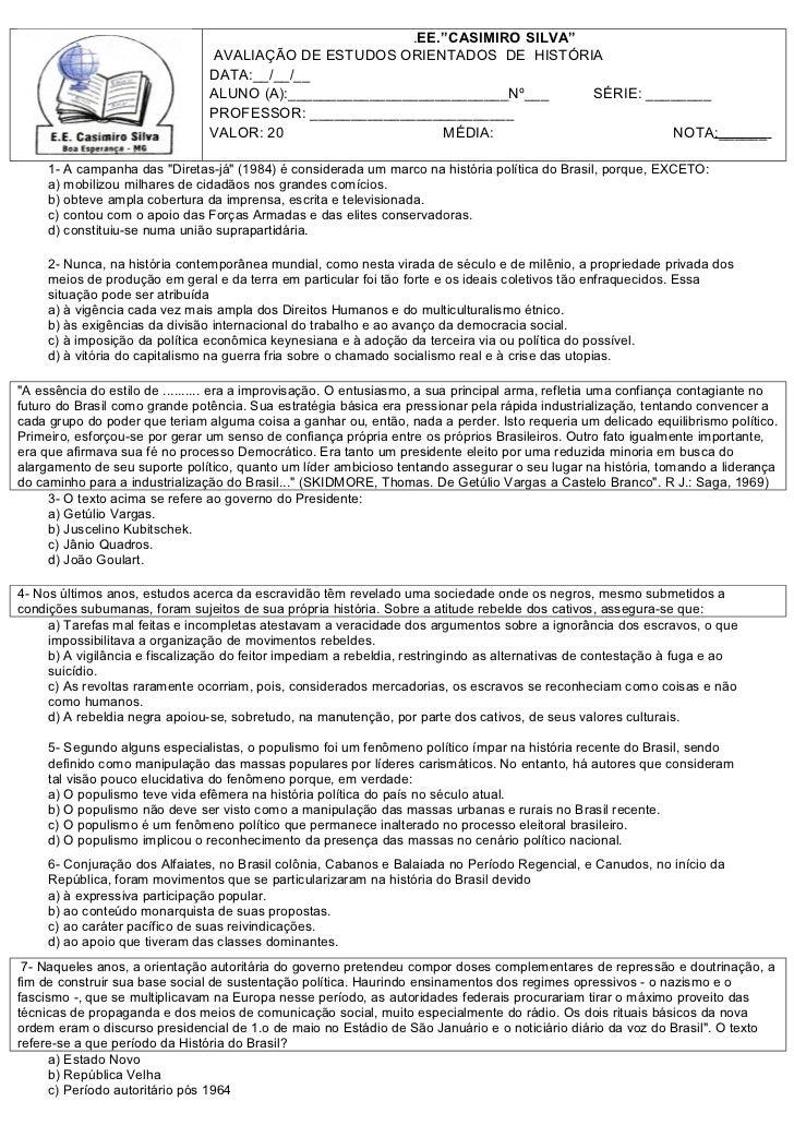 """.EE.""""CASIMIRO SILVA""""                                AVALIAÇÃO DE ESTUDOS ORIENTADOS DE HISTÓRIA                           ..."""