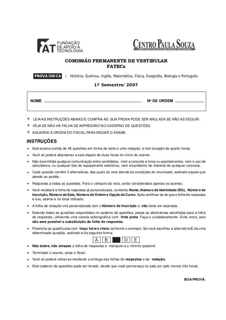 `                     COMISSÃO PERMANENTE DE VESTIBULAR                                  FATECs  PROVA ÚNICA         - His...