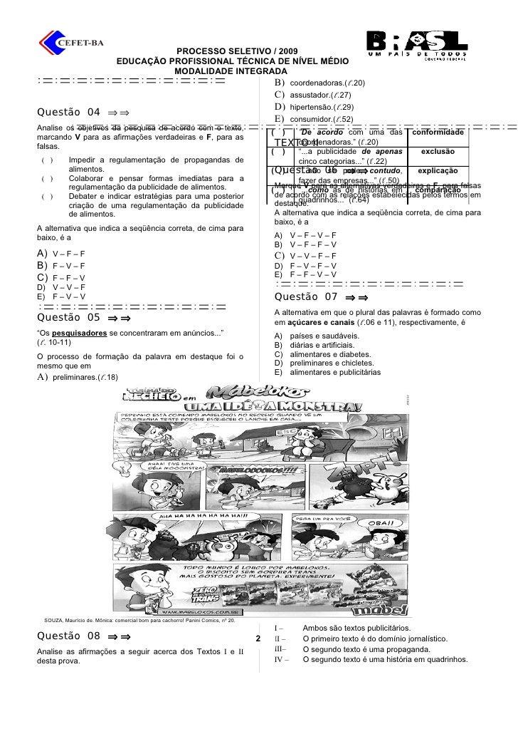 provas do cefet-pi 2009