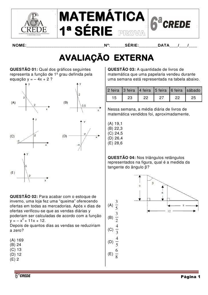 MATEMÁTICA – AVALIAÇÃO EXTERNA                                                1ª SÉRIE -                          MATEMÁTI...