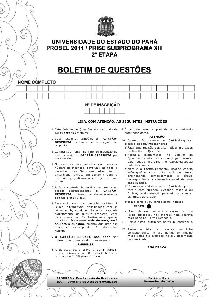 UN  NIVERSSIDADE DO ES             E     STADO DO PAR                         D    RÁPRO  OSEL 20 / PR        011 RISE SUU...