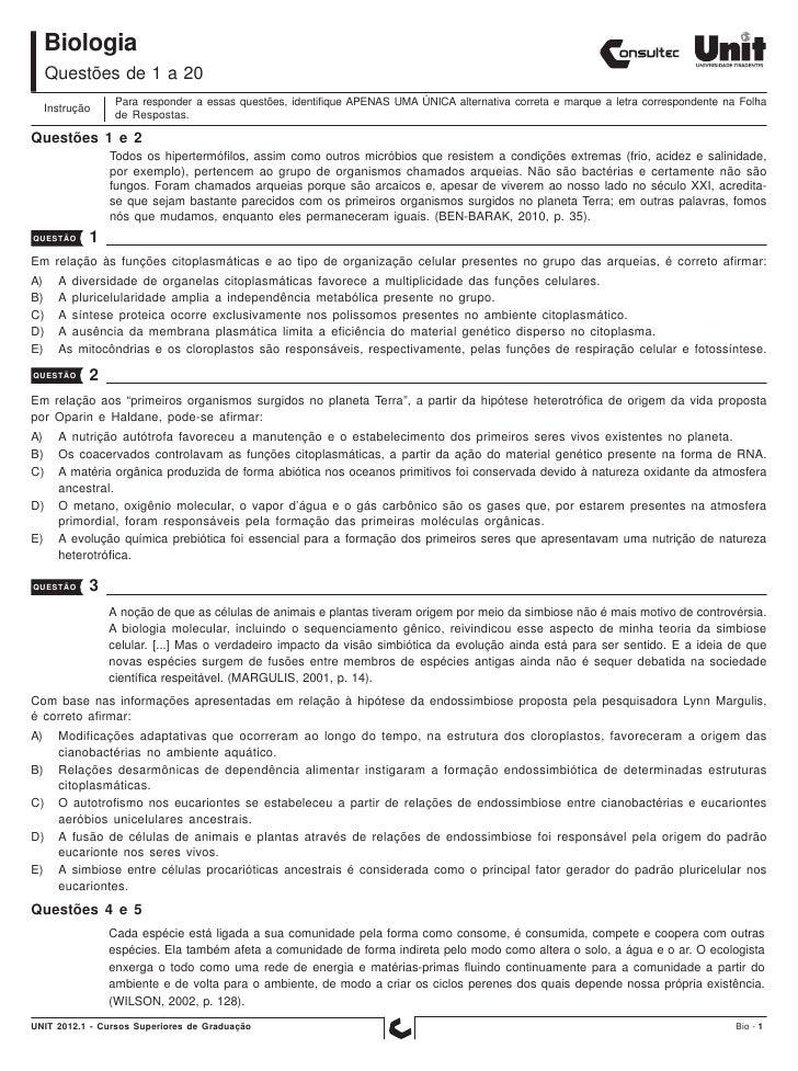 Biologia     Questões de 1 a 20                  Para responder a essas questões, identifique APENAS UMA ÚNICA alternativa...