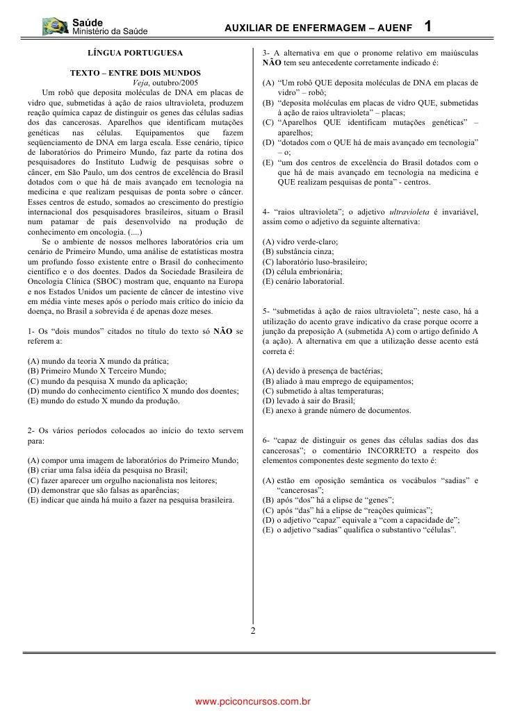 AUXILIAR DE ENFERMAGEM – AUENF                            1                 LÍNGUA PORTUGUESA                             ...