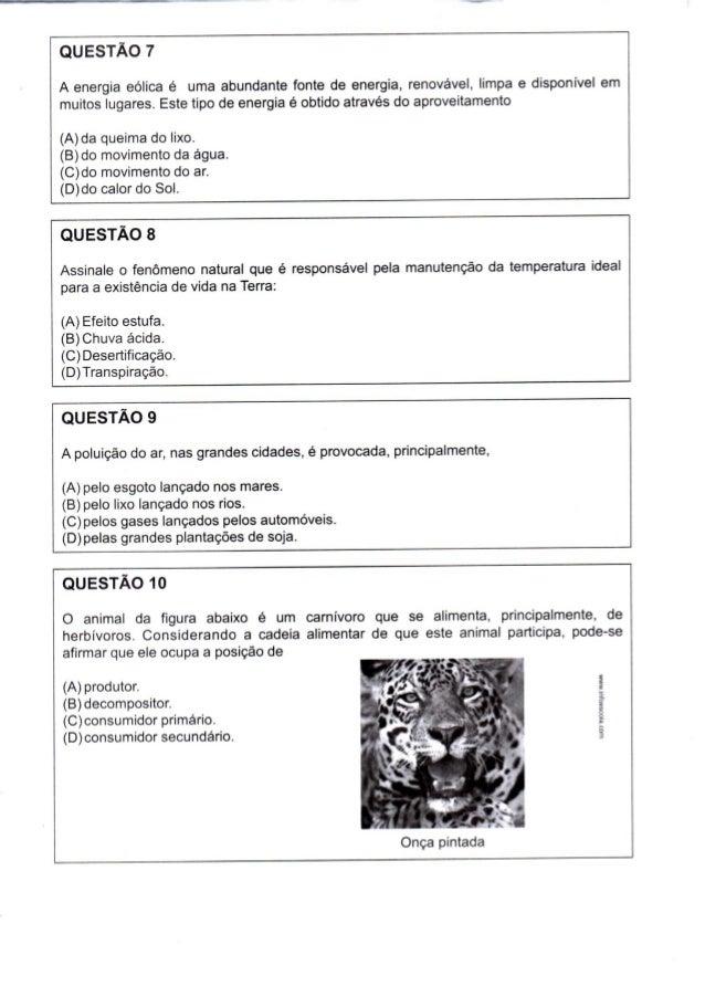 Prova 7º ano - 1º bim - 2014 - SME Rio de Janeiro
