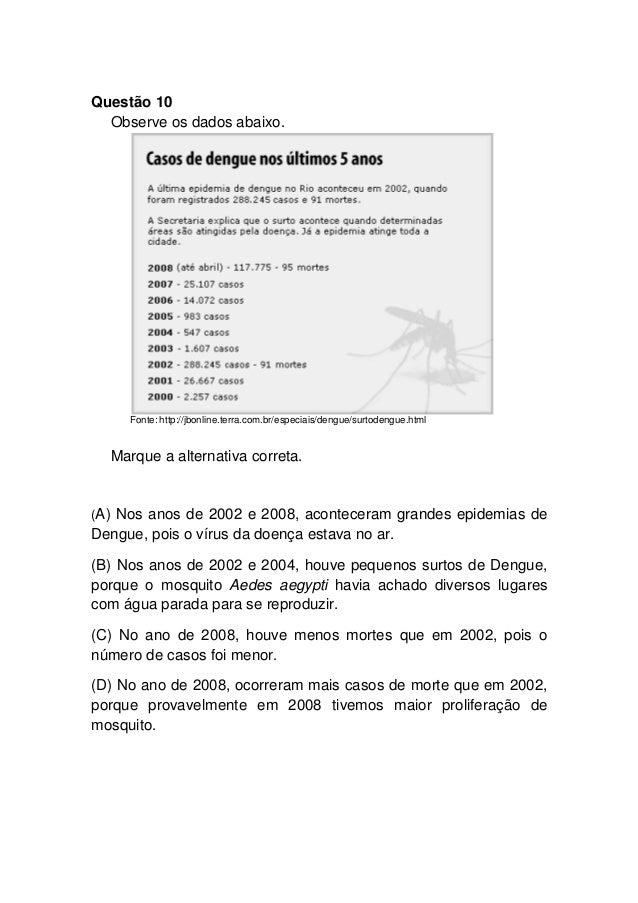 Questão 10 Observe os dados abaixo. Fonte: http://jbonline.terra.com.br/especiais/dengue/surtodengue.html Marque a alterna...