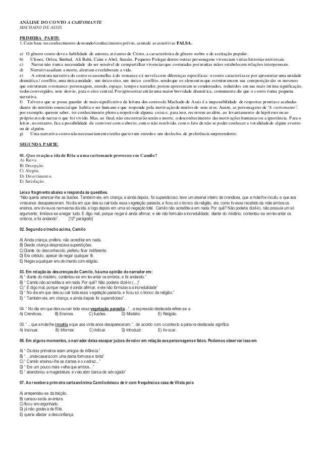 ANÁLISE DO CONTO A CARTOMANTE MACHADO DE ASSIS PRIMEIRA PARTE: 1. Com base no conhecimento de mundo/conhecimento prévio, a...