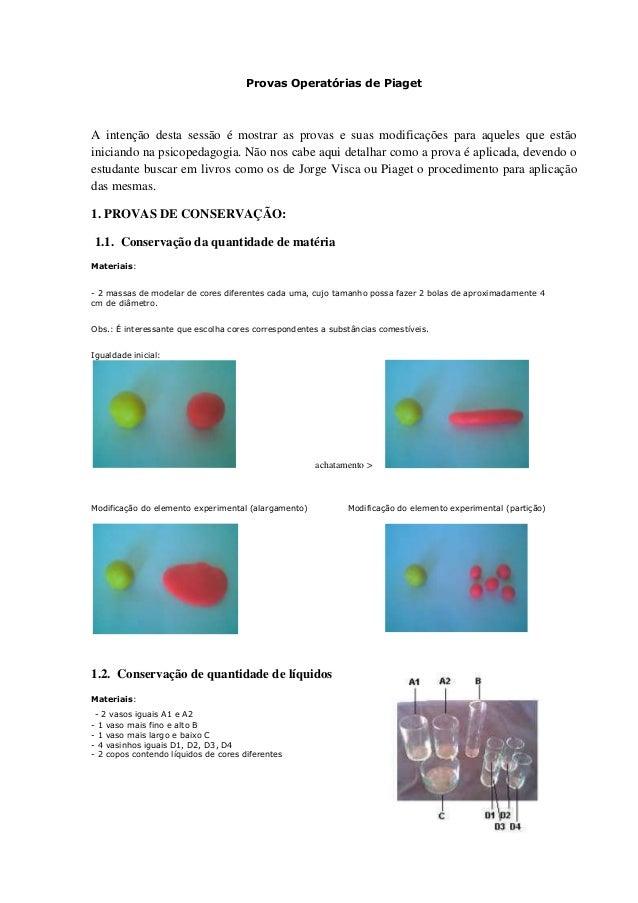 Provas Operatórias de PiagetA intenção desta sessão é mostrar as provas e suas modificações para aqueles que estãoiniciand...