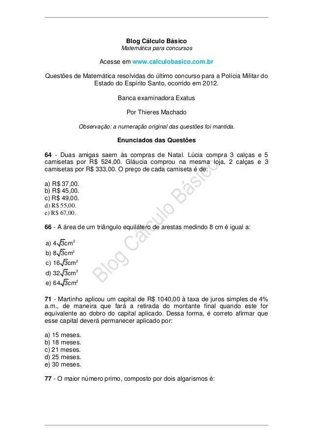 Blog Cálculo Básico                            Matemática para concursos                    Acesse em www.calculobasico.co...