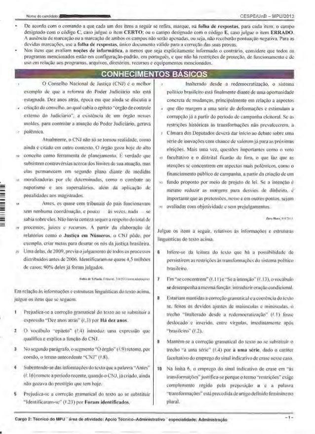 Prova Técnico MPU 2013