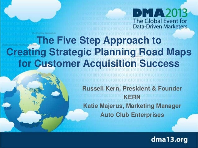 The Five Step Approach to Creating Strategic Planning Road Maps for Customer Acquisition Success Russell Kern, President &...