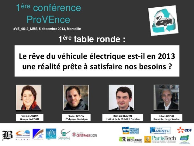 1ère conférence ProVEnce #VE_0512_MRS, 5 décembre 2013, Marseille  1ère table ronde : Le rêve du véhicule électrique est-i...