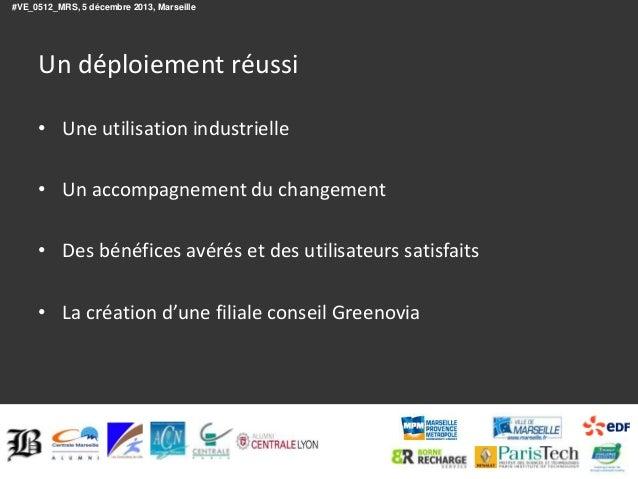 #VE_0512_MRS, 5 décembre 2013, Marseille  Un déploiement réussi • Une utilisation industrielle • Un accompagnement du chan...