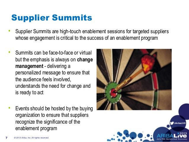 #AribaLIVESupplier Summits• Supplier Summits are high-touch enablement sessions for targeted supplierswhose engagement is ...