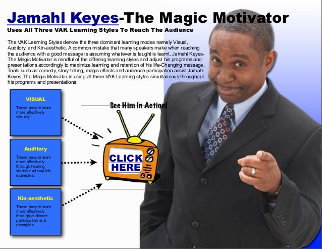 Jamahl Keyes-The Magic Motivator Uses All Three VAK Learning Styles To Reach The Audience  The VAK Learning Styles denote ...