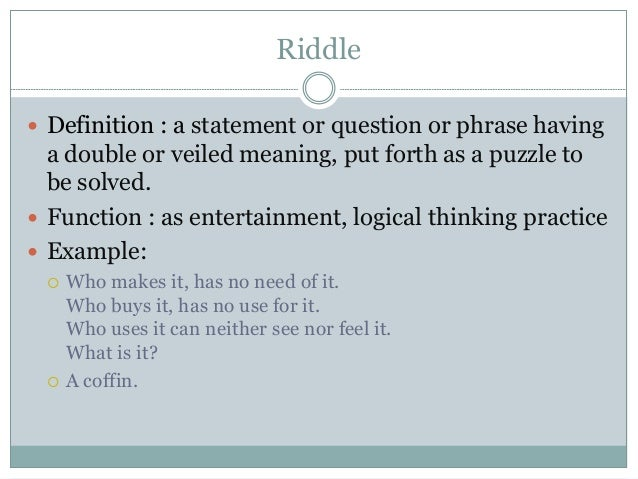 Proverb And Riddle