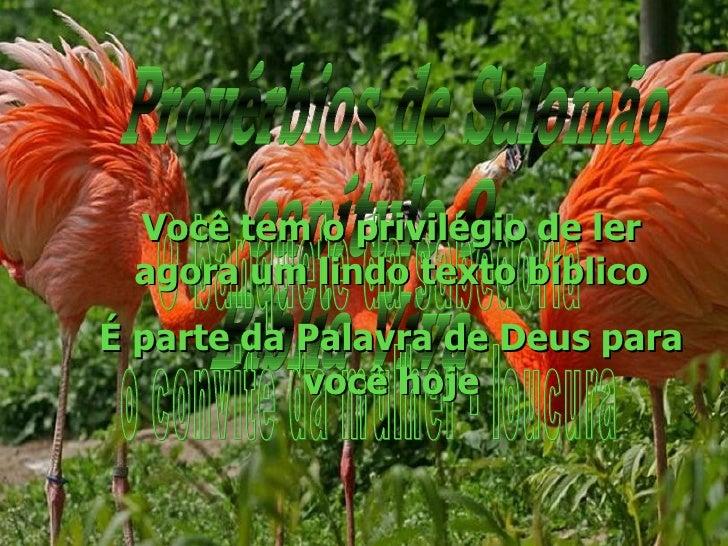 Provérbios de Salomão capítulo 9 Bíblia Viva O banquete da sabedoria o convite da mulher - loucura Você tem o privilégio d...
