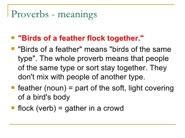 "birds of a feather flock together essay paper We've all heard how ""opposites attract"", even though we're also told ""birds of a  feather flock together"" the relative truth of each of these adages."
