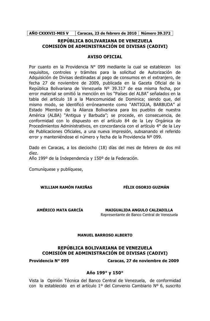 AÑO CXXXVII-MES V       Caracas, 23 de febrero de 2010   Número 39.372             REPÚBLICA BOLIVARIANA DE VENEZUELA     ...