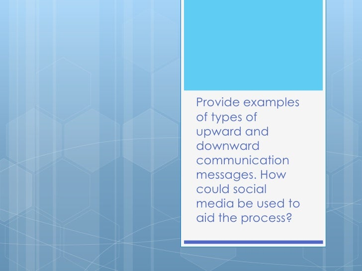 Provide examplesof types ofupward anddownwardcommunicationmessages. Howcould socialmedia be used toaid the process?