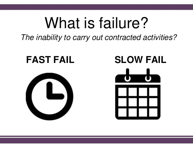 What is failure? The inability to carry out contracted activities? FAST FAIL SLOW FAIL