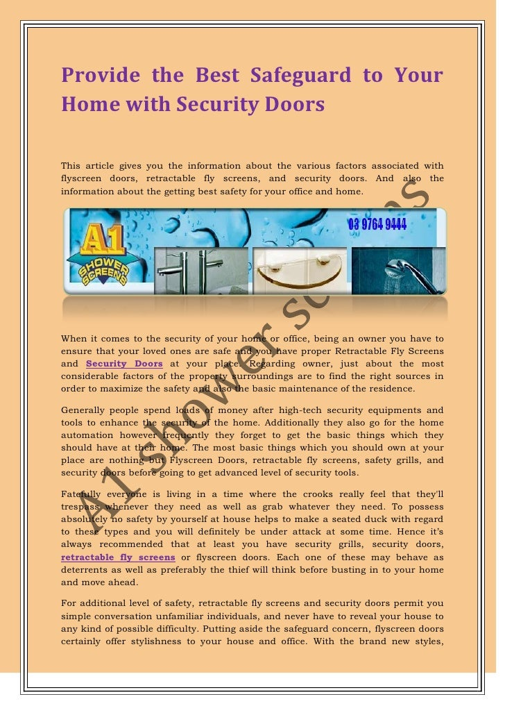 Provide the best safeguard to your home with security doors for Best security for your home