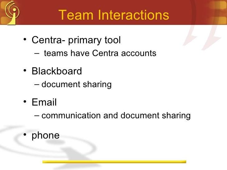 Team Interactions <ul><li>Centra- primary tool </li></ul><ul><ul><li>teams have Centra accounts  </li></ul></ul><ul><li>Bl...