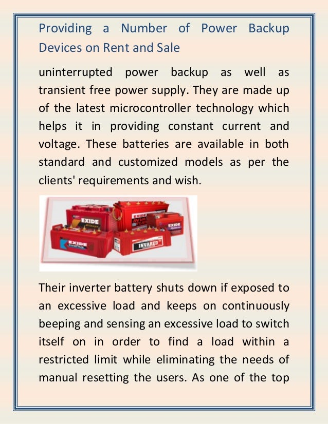 Providing a Number of Power Backup Devices on Rent and Sale