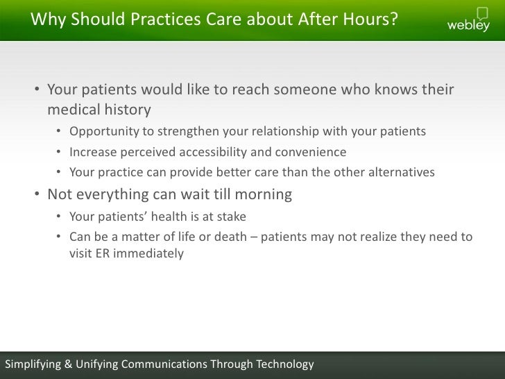Providing better after hours care to your patients accuracywebley confidential 8 m4hsunfo