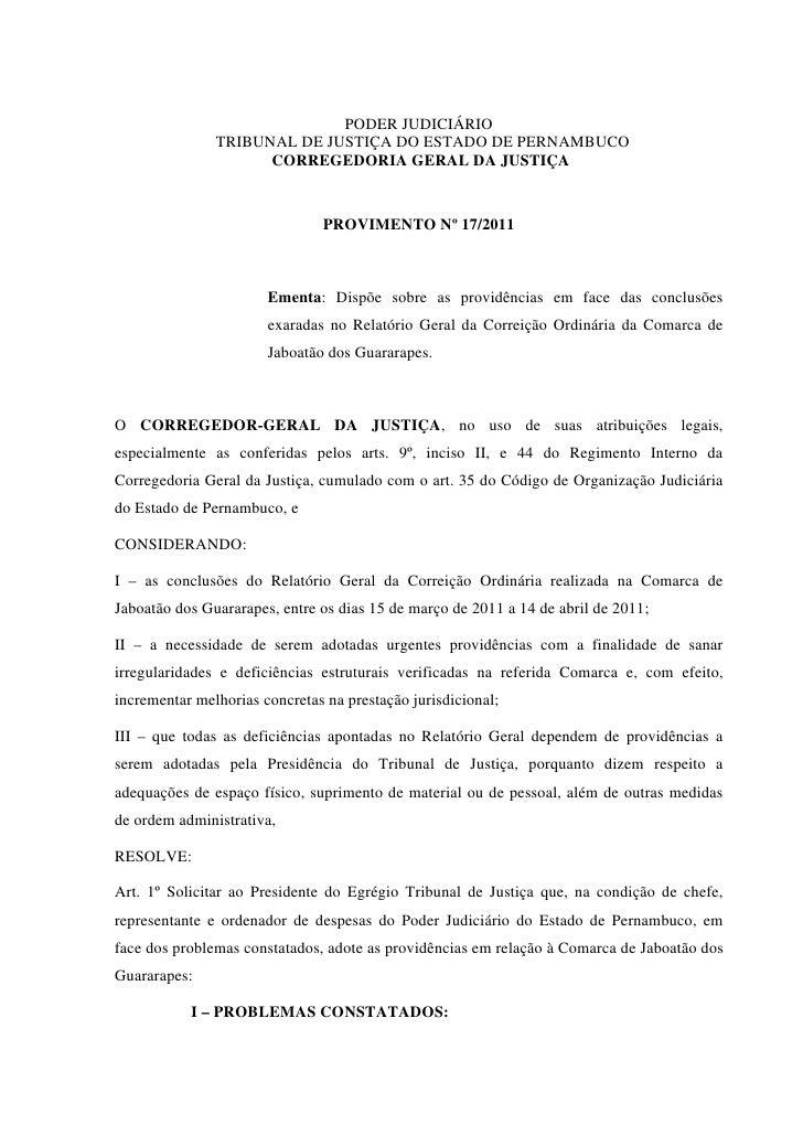 PODER JUDICIÁRIO               TRIBUNAL DE JUSTIÇA DO ESTADO DE PERNAMBUCO                     CORREGEDORIA GERAL DA JUSTI...