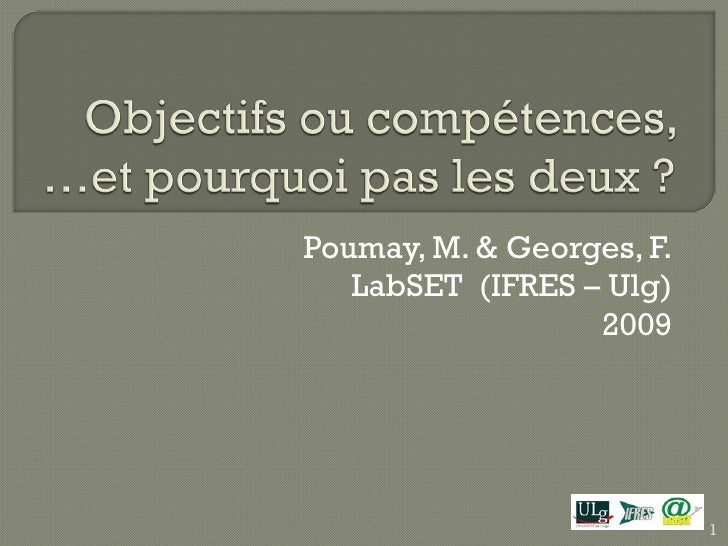 Poumay, M. & Georges, F.  LabSET  (IFRES – Ulg) 2009