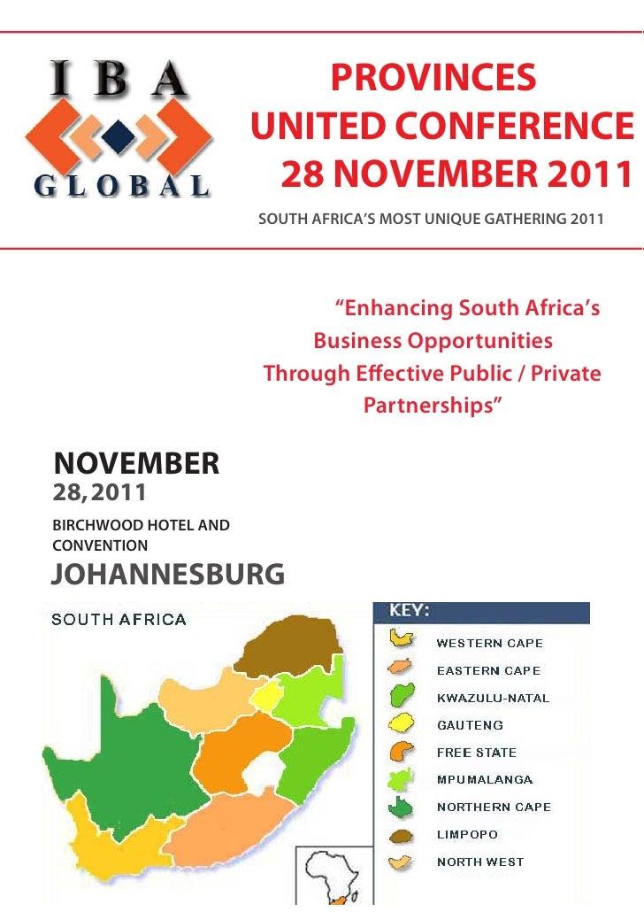 PROVINCES                      UNITED CONFERENCE                       28 NOVEMBER 2011                      SOUTH AFRICA'...
